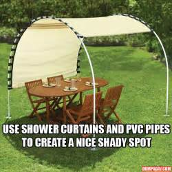 Shower curtain and pvc pipe shade