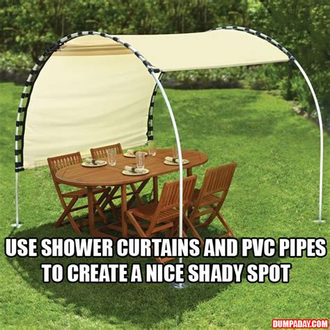 Diy Backyard Shade by Create Your Own Shade Using Shower Curtains And Pvc Pipes