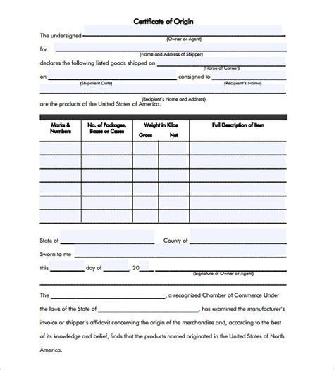 generic certificate of origin template sle certificate of origin template 14 free documents