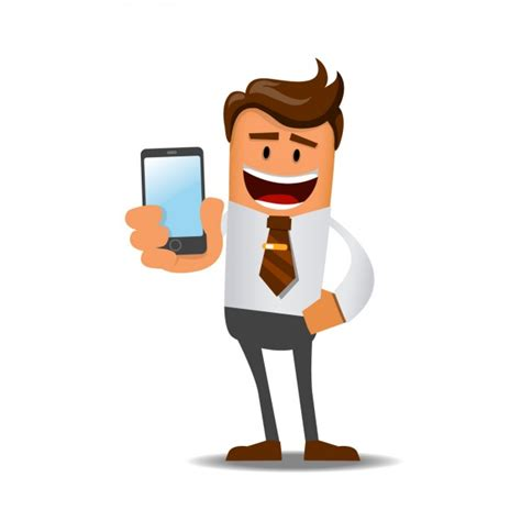 businessman with a mobile vector free download