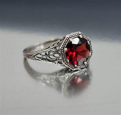 Garnet Ring by Vintage Sterling Silver Filigree Garnet Ring Size 6 5