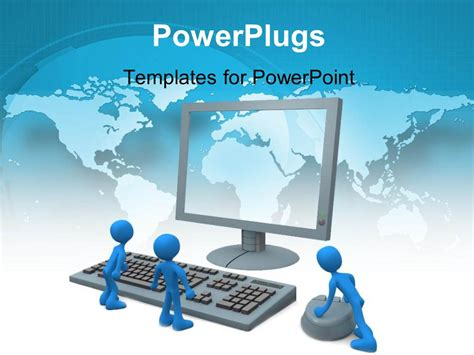 template ppt computer free powerpoint template three blue colored 3d men with