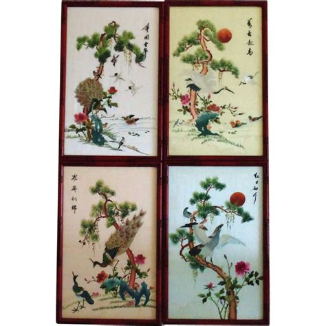 peacock silk embroidery shadowbox asian home decor 4 japanese or chinese silk embroidery panels embroidered