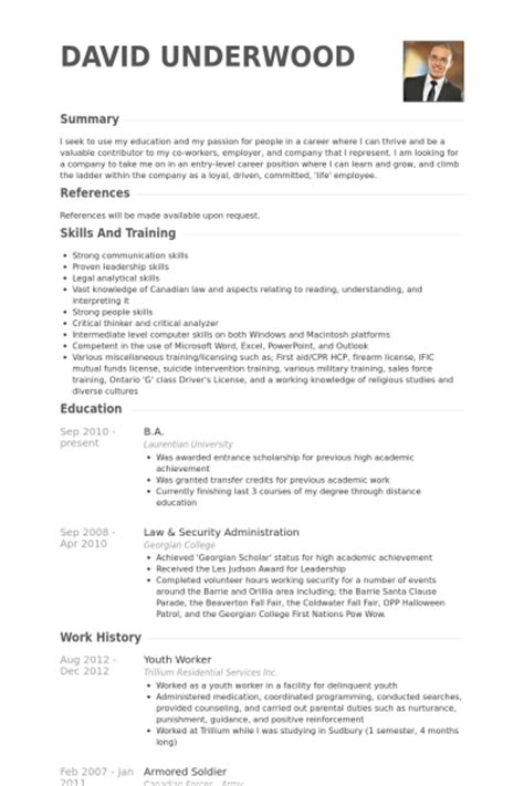 Resume Template Youth Worker by Youth Worker Resume Sles Visualcv Resume Sles Database