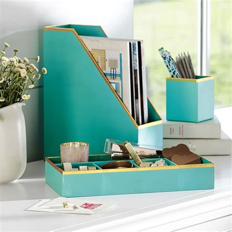 aqua blue desk accessories printed paper desk accessories set solid pool with gold