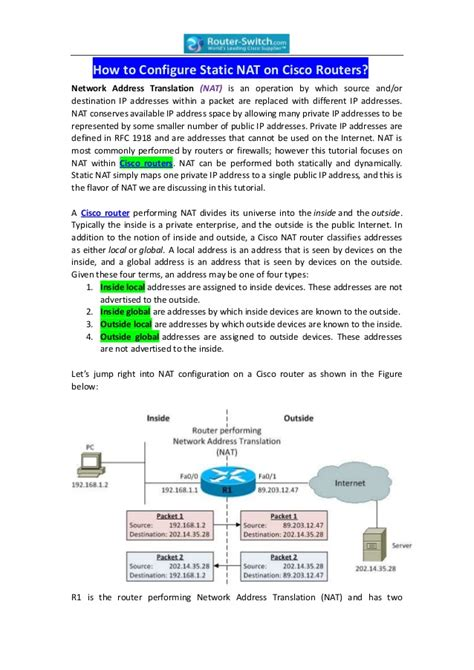 cisco network address translation tutorial how to configure static nat on cisco routers