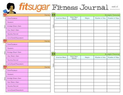 printable food fitness journal 9 best images of free printable exercise journal