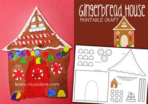 Paper Gingerbread House Craft - printable gingerbread house craft