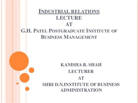 Industrial Relations Notes For Mba Students by Industrial Relations Pptx Mba