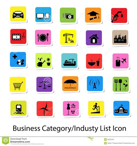 category designs colorful business category and industry list icon stock