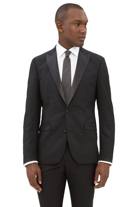 Vest Blazer Black dkny mens black tuxedo jacket slim fit two button peak lapel formal suit blazer ebay