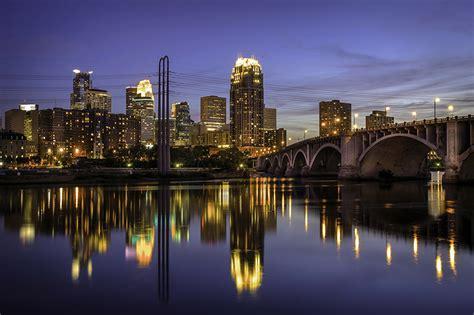 lights cities wallpapers usa minneapolis bridges rivers