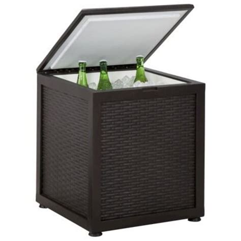 Patio Table Cooler Threshold Belvedere Wicker Patio Side Table With Cooler