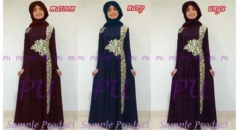 Marisa Maxy Maroon Navy baju gamis pesta bordir marian p905 busana muslim mewah