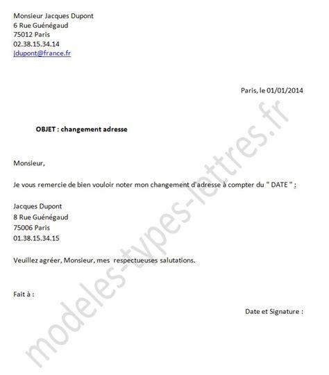 Demande De Changement D Adresse Lettre Mod 232 Le De Lettre De Changement D Adresse