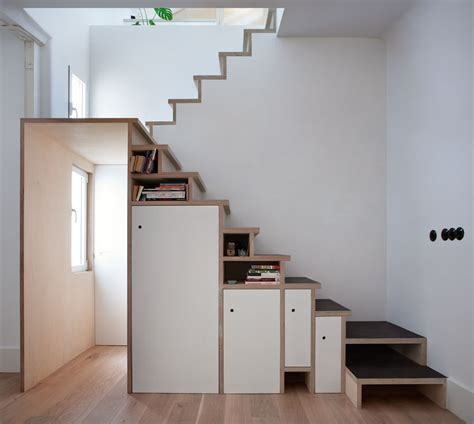 the stairs storage space saving stair storage design in plywood