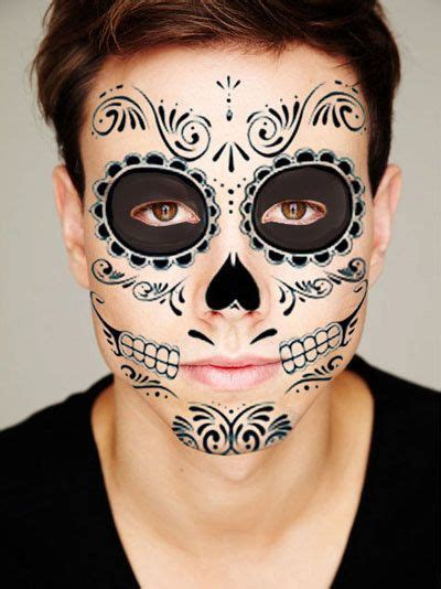 tattoo makeup guy sugar skull all black temporary tattoo for the face by