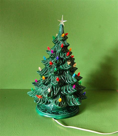 vintage green ceramic christmas tree lighted ceramic tree