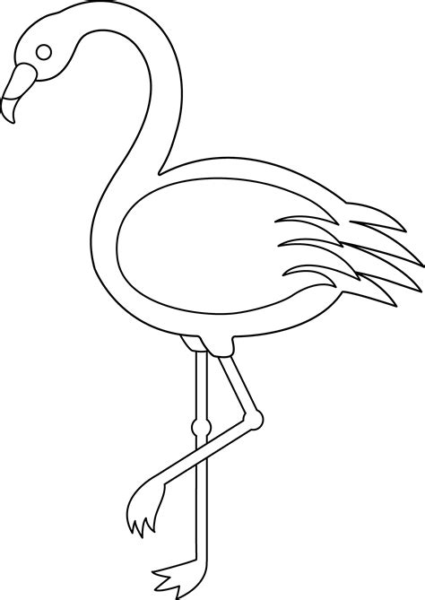 colorable flamingo free clip art