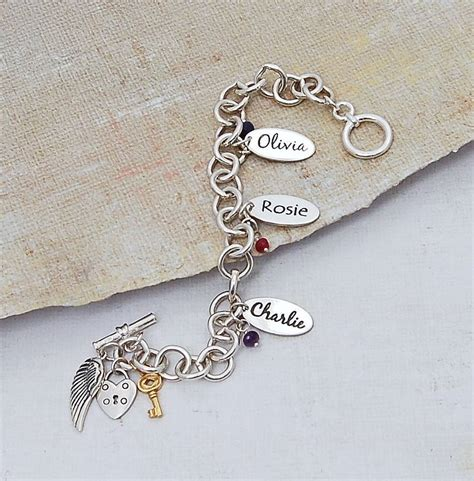 personalised silver name charm bracelet by indivijewels