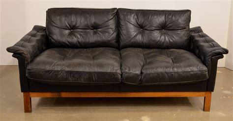mid century leather loveseat mid century black tufted leather loveseat danish at 1stdibs