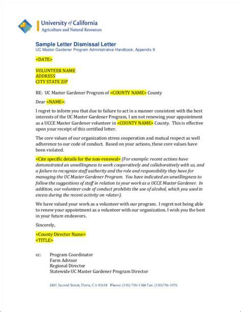 termination letter volunteer sle volunteer termination letter docoments ojazlink