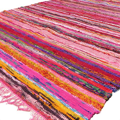 Pink Colorful Decorative Woven Chindi Bohemian Boho Rag Colorful Rug