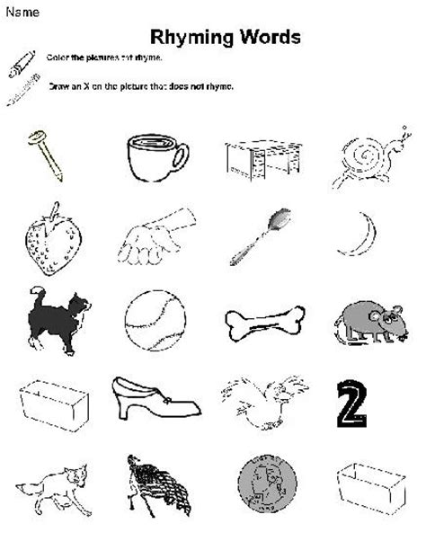 Rhyming Worksheets For Kindergarten by Free Coloring Pages Of Rhyming Words
