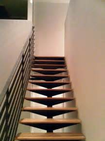 Exterior Stair Handrails Metal Open Steel Staircase Floating Hickory Treads Blackened