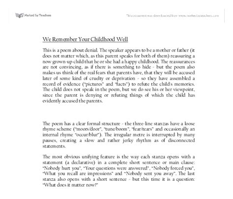 We Remember Your Childhood Well Essay by We Remember Your Childhood Well Gcse Health And Social Care Marked By Teachers