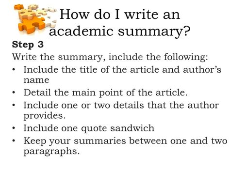 academic summary writing ppt