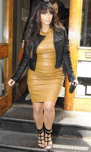 kim kardashian mustard dress pregnant kim kardashian rocks leather maternity look in