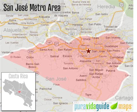san jose neighborhood map populated places in costa rica