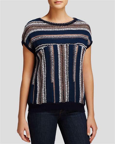Blue Abstract Sweater burch stripe open knit sweater in blue blue abstract stripe lyst