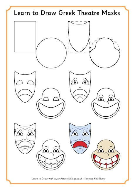 ancient greek mask template learn to draw theatre masks ancient greece rome