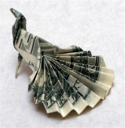 Origami With Dollars - dollar bill origami peacock