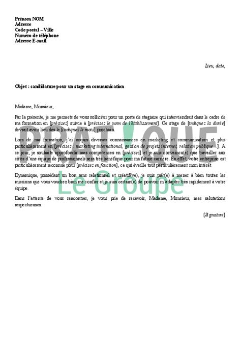 Exemple De Lettre De Motivation Pour Un Stage Banque lettre de motivation pour un stage en communication