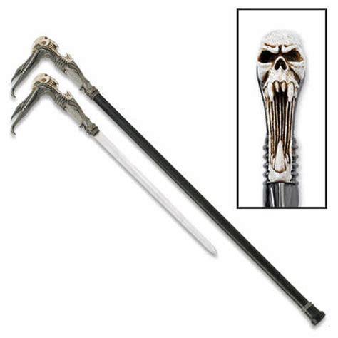 sword walking canes futuristic screeching cyborg skull walking sword