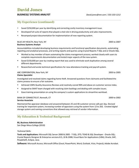 business analyst free resume sles blue sky resumes