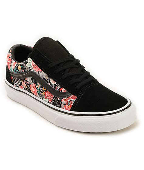 Vans Skool Aloha Flower Motif vans skool floral shoes zumiez