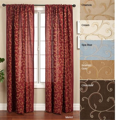 overstock curtains 108 isis scroll rod pocket 108 inch curtain panel 12155874