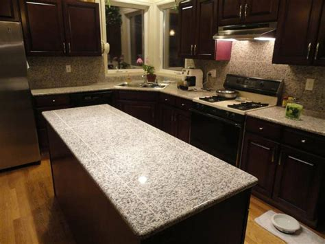 lazy granite tile for kitchen countertops island top finished using bullnose and tiles in white
