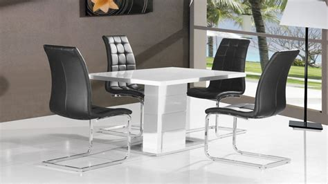 white high gloss dining table 4 black chairs