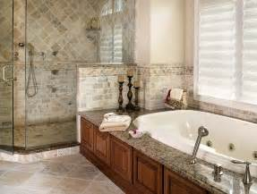 Master bathroom remodel with natural stone and oversized shower