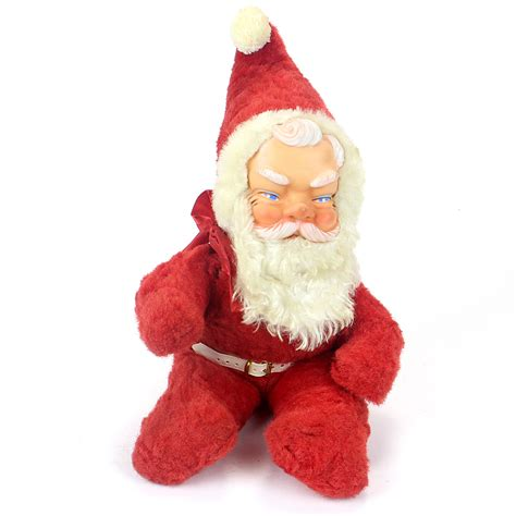 santa hat music box vintage rubber faced santa claus plush wind up box vintage findz