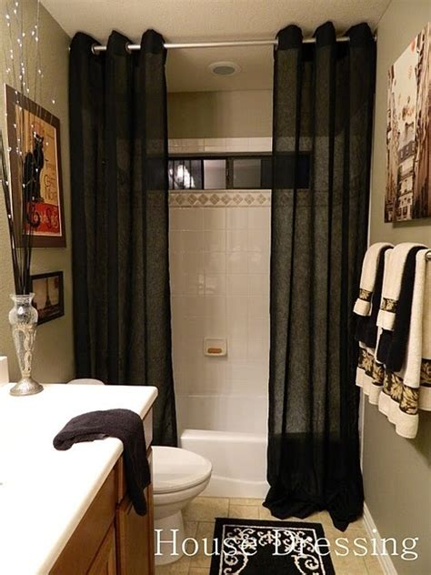 how to make a small bathroom look like a spa floor to ceiling shower curtains make a small bathroom