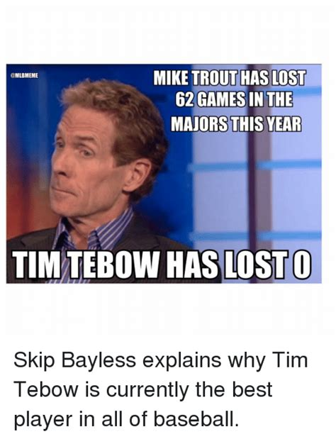 Tim Tebow Memes - mike trout has lost 62 games in the majors this year tim