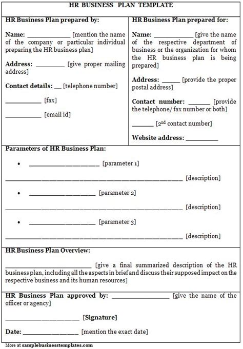 Free Business Plans Templates Hr Business Plan Template Sample Business Templates