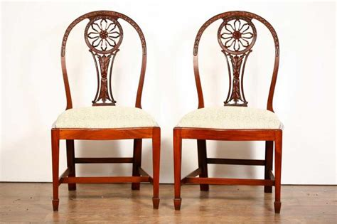 Wheeled Dining Chairs 10 Mahogany Hepplewhite Dining Chairs Carved Wheel Back