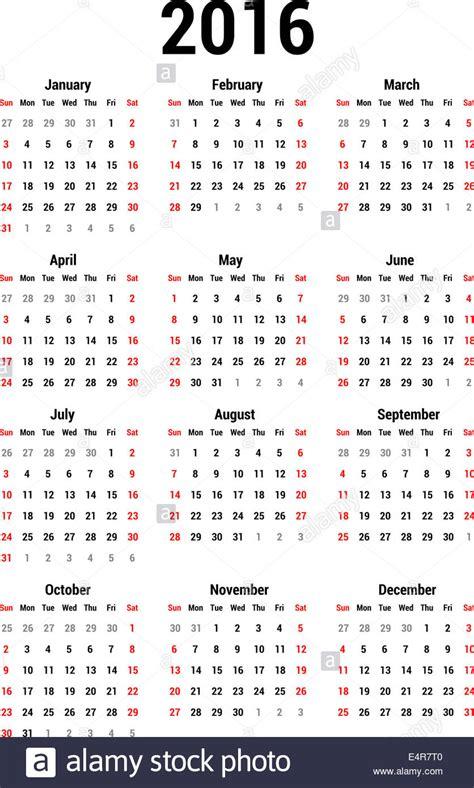 Simple Calendar For 2016 Calendar Template Stock Photo Royalty Free Image 71811152 Alamy Photography Calendar Template